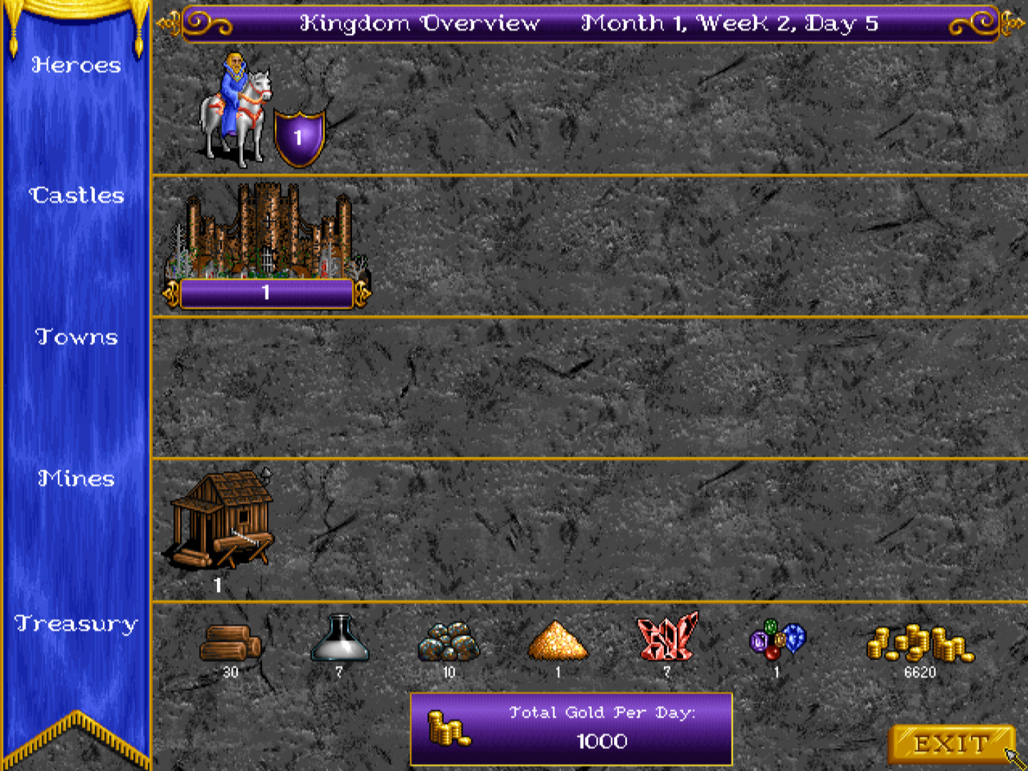 The Heroes of Might and Magic I kingdom overview gives an overview of your economy.